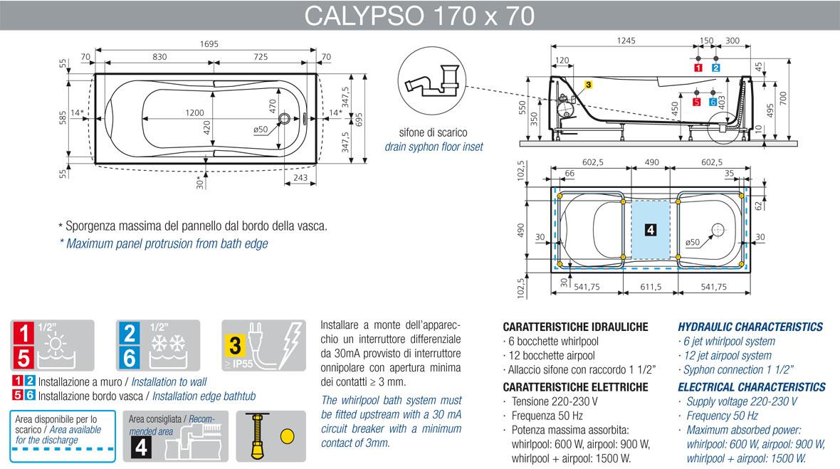Vasca idromassaggio Whirpool Novellini Calypso 170x70 +