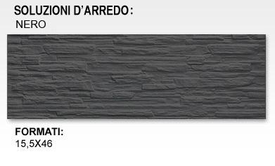 ARCKSTONE Rivestimento Piastrella Mattonella Effetto Pietra in Gres Muretto Nero  eBay