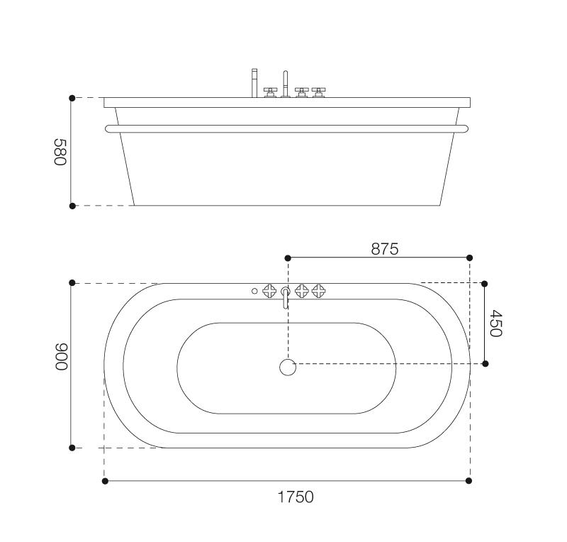 Misure rubinetteria vasca da bagno idee creative di - Vasca da bagno angolare misure ...