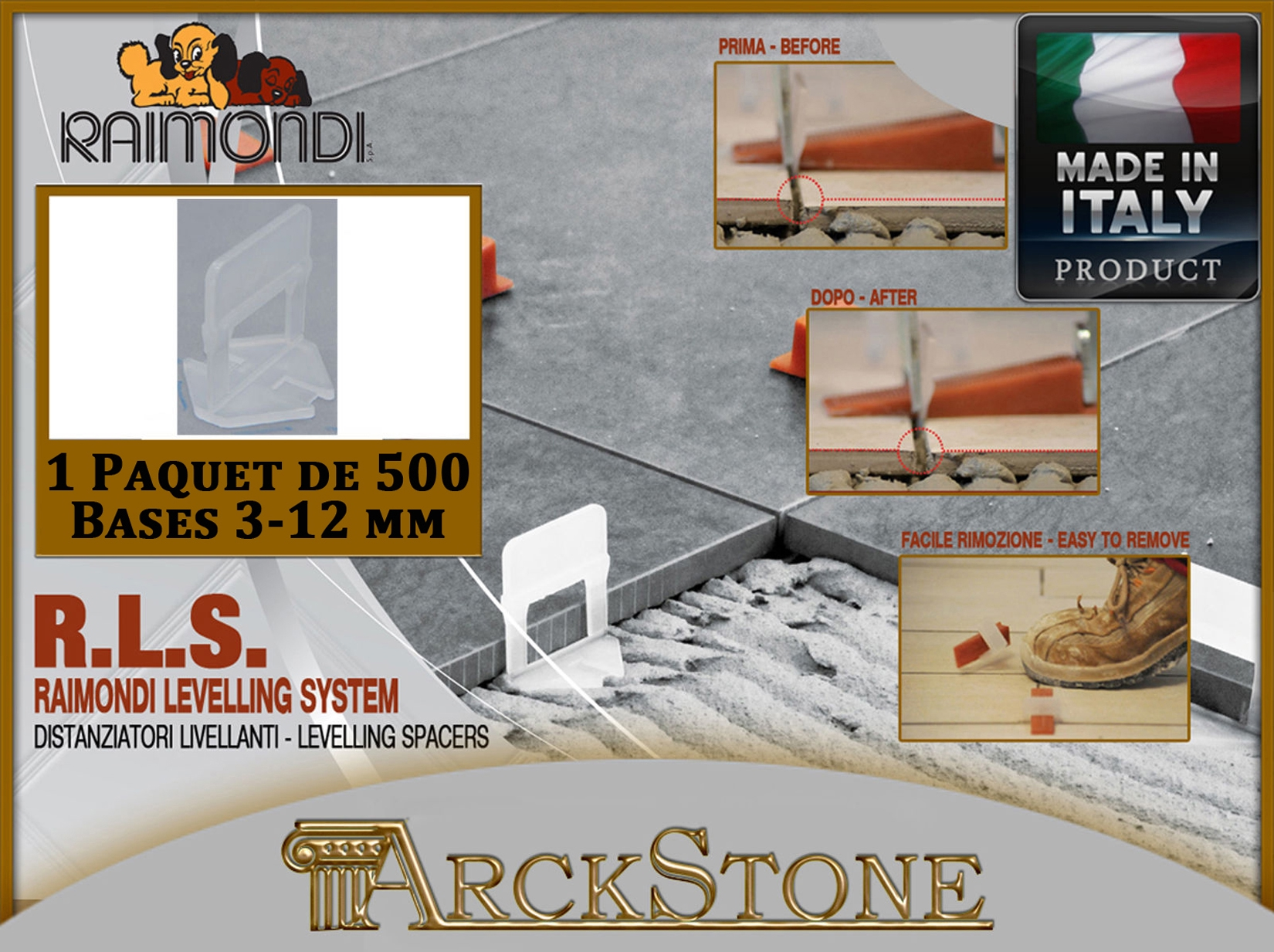 100 bases 3-12 mm ARCKSTONE Kit Seau 1 pince étage Raimondi RLS 100 cales