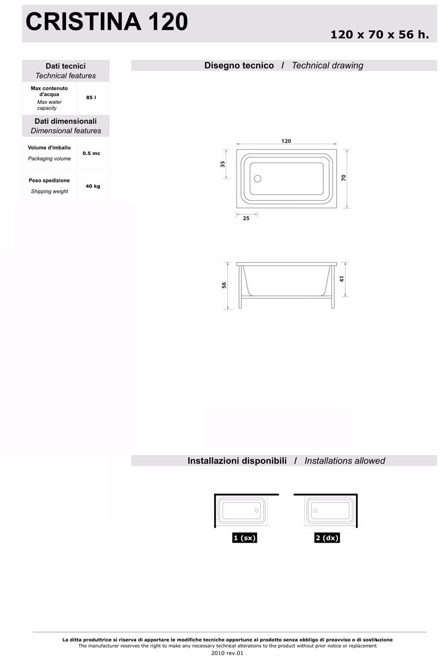 Details zu Badewanne Badezimmer Rechteckig Vertieft Kleine Wasser Treesse  Cristina 120A Vin